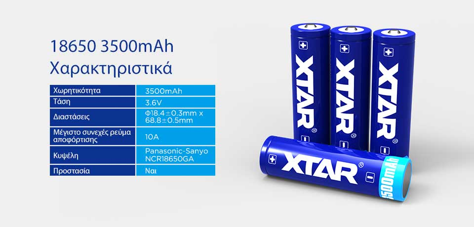 XTAR 18650 3500mAh Protected battery slider01