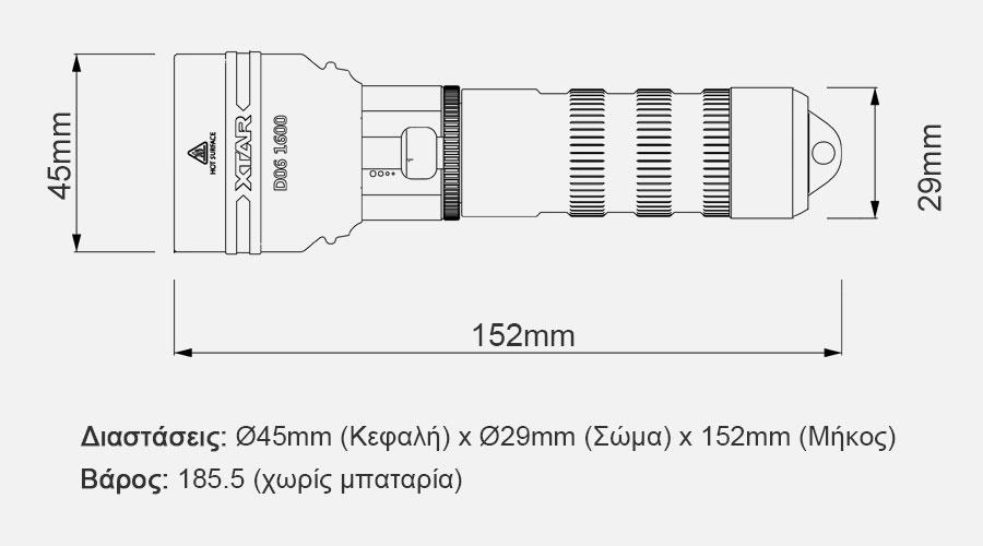 XTAR D06 1600 Diving Flashlight slider11