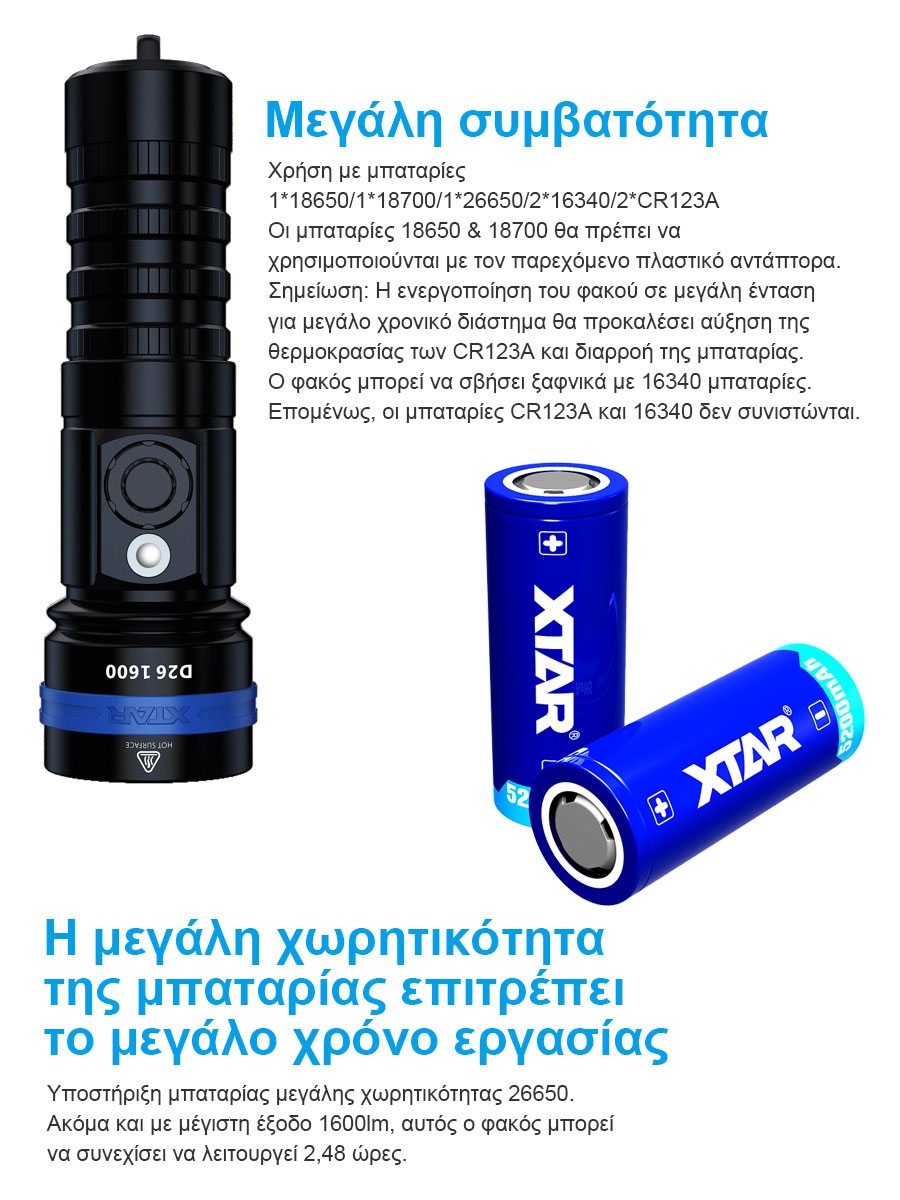 XTAR D26 1600 Diving Flashlight slider08